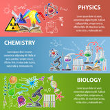 Science Banner Set Stock Images