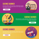 Science banner. 3 banner with science theme. eps 10 file, with no gradient meshes,blends,opacity, stroke path,brushes.Also all elements grouped and layered royalty free illustration