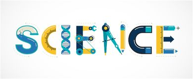 Science banner, typography and background Stock Photo