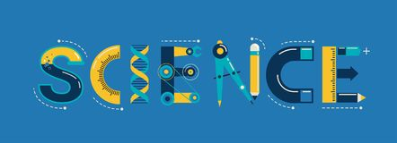 Science banner, typography and background Stock Photos