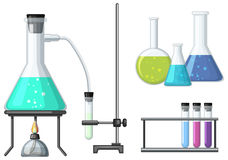 Science beakers with burner Stock Photos