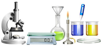 Science beakers and other equipment Stock Photo