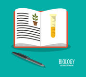 Science biology book pen icons Stock Images