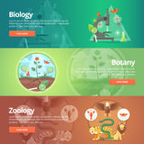 Science of biology. Natural science. Vegetable life. Botany knowledge. Animal planet. Zoology. Zoo. World of wildlife. Education and science banners set Royalty Free Stock Image