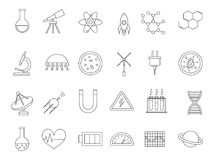 Science black icons set. Set of 24 Science black icons Royalty Free Stock Images