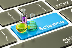 Science blue button, key on the computer keyboard. 3D rendering Stock Photos