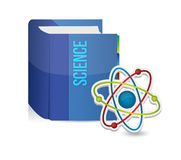 Science book and atom illustration Royalty Free Stock Images