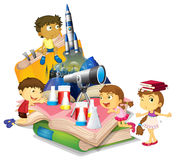 Science book with children and equipment Stock Photo