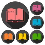 Science book icons set with long shadow Royalty Free Stock Photo