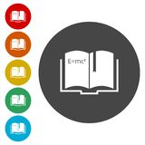 Science Books with Bookmarks Circle Icon royalty free illustration