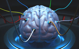 Science Brain. Brain with cables connected in a test of the power of the mind Stock Image