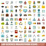 100 science brainstorm icons set, flat style. 100 science brainstorm icons set in flat style for any design vector illustration stock illustration