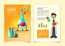 Vector colorful template of science brochure. Science brochure vector template, front and back side, educational leaflet, flyer with different chemistry Stock Images