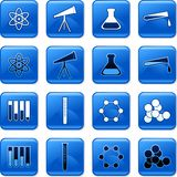 Science buttons. Collection of blue square science rollover buttons Stock Photography