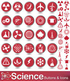 Science buttons and icons. Set of science and education icons with red background Stock Photo