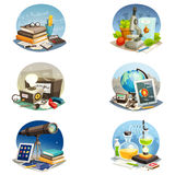 Science Cartoon Set Royalty Free Stock Image