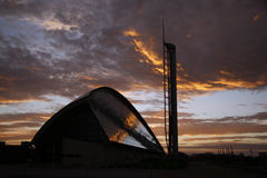 Science centre. Two examples of Glasgow's modern architecture at sunset royalty free stock images