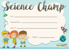 Science champ award template with kids in background Royalty Free Stock Image