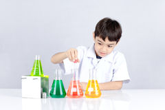 Science chemical experiment for kid Stock Photos