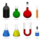 Science Chemical Lab Equipment. A set of science laboratory equipment with liquid chemicals Royalty Free Stock Photos