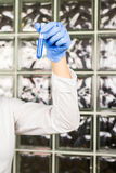 Science, chemistry, biology, medicine, people concept - close-up of female scientist holding tube with sample making and Royalty Free Stock Photography