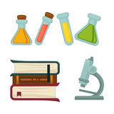 Science chemistry book or beakers and biology microscope vector flat icons set. Science chemistry or biology flat icons. Vector isolated set of scientific books stock illustration