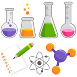 Science and chemistry set. Science and chemistry collection: test tube bottles filled with chemicals, notebook, pencil, molecule and atom. Vector illustration royalty free illustration