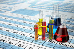 Science chemistry concept. Laboratory test tubes and flasks with. Colored liquids on the periodic table of elements.  3d illustration Royalty Free Stock Images