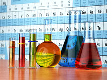 Science chemistry concept. Laboratory test tubes and flasks with. Colored liquids on the periodic table of elements.  3d illustration Stock Images