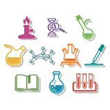 Science and chemistry icon set. Stock Images