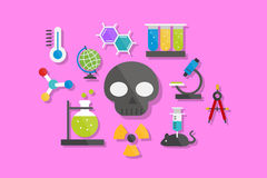 Science and Chemistry Icons Flat Design Vector Illustration Element Icons Set Royalty Free Stock Images