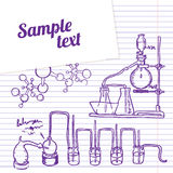 Science chemistry lab background (sketchy style). Science chemistry laboratory  background (sketchy style Royalty Free Stock Images