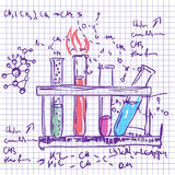 Science chemistry lab background (sketchy style). Science chemistry laboratory  background (sketchy style Stock Photography