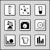 Science-Chemistry-Mathematics Icons. Vector Illustration of Flat Chemistry-Math-Science Icon Set Royalty Free Stock Images