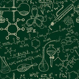 Science chemistry old laboratory seamless pattern. Vintage  background sketchy style. School design  texture Stock Photo