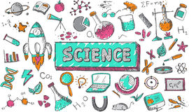 Science chemistry physics biology astronomy education subject. Science chemistry physics biology and astronomy education subject doodle icon. Doodle for royalty free illustration