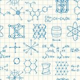 Science chemistry and physics seamless vector pattern. Science chemistry and physics seamless vector copybook pattern Royalty Free Stock Image