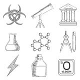 Science and chemistry sketches icons set Royalty Free Stock Image