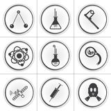 9 science circle flat icons. Vector illsutration Stock Photo