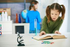 Science class at elementary school. Elementary age schoolgirl looking at book in science class in primary school classroom Stock Images