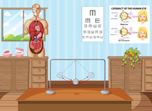 Science classroom with equipments and charts. Illustration Stock Photos