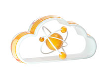 Science and cloud technology icon. Emblem with molecule structure inside isolated on white Royalty Free Stock Photos