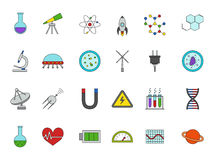 Science colorful icons set. Set of 24 Science colorful icons Royalty Free Stock Photo
