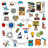 Science colorful sketches for education design Royalty Free Stock Photos