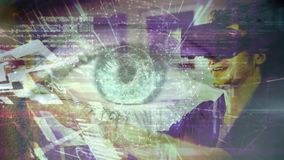 Science Composition Animated eye combined with man using Augmented Reality. Digital composite of Science Composition Animated eye combined with man using stock video