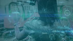 Science Composition Woman using Augmented Reality combined with animated diagrams colo. Digital composite of Science Composition Woman using Augmented Reality stock footage