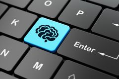 Science concept: Brain on computer keyboard background. Science concept: computer keyboard with Brain icon on enter button background, 3D rendering Stock Image