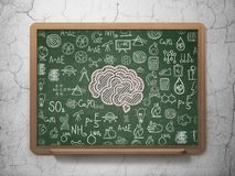 Science concept: Brain on School board background. Science concept: Chalk Pink Brain icon on School board background with  Hand Drawn Science Icons, 3D Rendering Royalty Free Stock Image