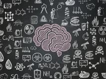 Science concept: Brain on School board background royalty free illustration