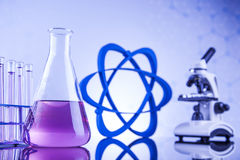 Science concept, Chemical laboratory glassware Stock Photos